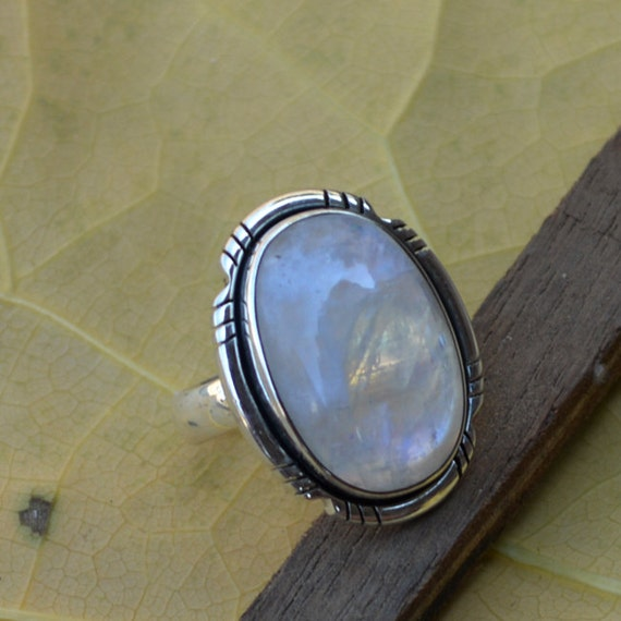 Misty Rainbow Moonstone Gemstone Ring, 925 Sterling Silver Designer Ring, Bezel Set June Birthstone Gift Ring, Blue Stone Gift Ring 8