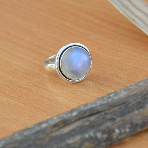 AAA Rainbow Moonstone Gemstone Ring, Moonstone Ring, Solid 925 Sterling Silver Ring, June Birthstone Ring, Classic Gift Ring Size 6