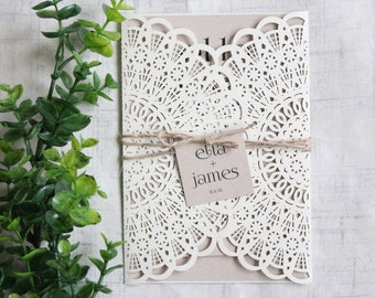 Rustic Wedding Invitation, woodland invitation, Lace wedding invitation,Lace, Rustic Chic, WEDDING INVITATION, SAMPLE