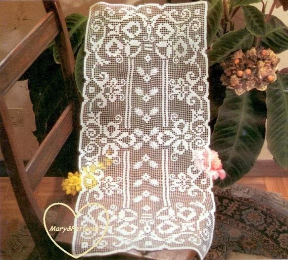 Pdf crochet pattern table runner crochet doily home - Crochet mural vintage ...