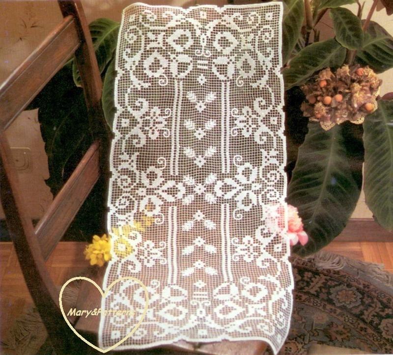 pdf crochet pattern table runner crochet doily home decor vintage crochet from marypatterns. Black Bedroom Furniture Sets. Home Design Ideas