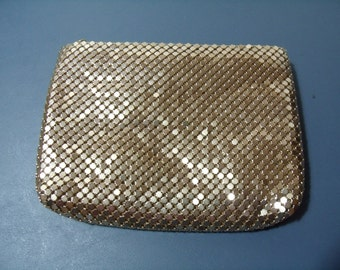 Vintage gold mesh evening clutch or cosmetic bag