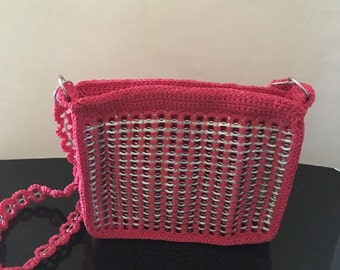 Woman's Bags handmade woven/crochet soda pop tab caps purse/bag NEW