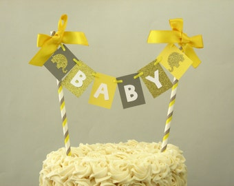 Yellow Gray Elephant Baby Shower Cake Topper Yellow Gray Baby Shower Elephant Baby Shower Elephant Cake Topper Yellow Gray Topper Bunting