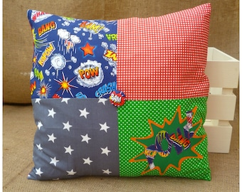 Superhero Pow Cushion, Comic Book Pillow, Comic Gift, Gift For Boys, Super