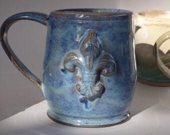 Large Blue Fleur de lis Pottery Mug