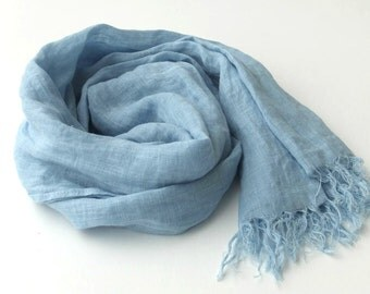 light blue scarf, pure linen, sky blue, lightweight gauze, long, large