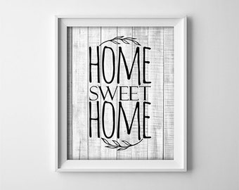 """INSTANT DOWNLOAD 8X10"""" printable digital art - Home sweet home-Rustic wood effect wall art-Vintage Inspired-Black lettering-Home wall decor"""
