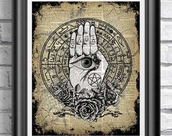Witchcraft Wiccan Print, Palm and Eye Print, Triangle Pagan Art Work, Mixed Media Book Art, Occult art, Dictionary Book Page, Pentagram