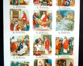 1890s Antique Scenes from the Bible Holy Card