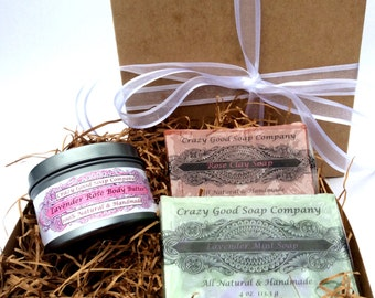 Bath Gift Set, All Natural Gift set,Includes A whipped Body Butter & Two All Natural Soap Bars, Spa Gift Set