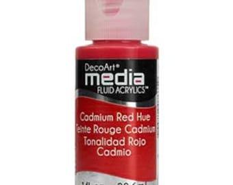 DecoArt Media Fluid Acrylics, Cadmium Red Hue, 1 oz bottle, Decoart