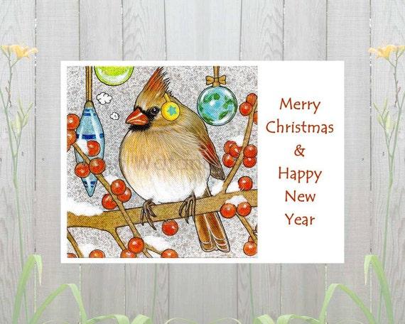 female cardinal christmas card merry christmas