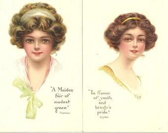 """2 Tuck's 1914 Series """"Maidens Fair"""" Pretty Lady Vintage Postcards Unused"""