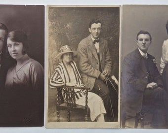 Pack of 3 Vintage Portrait Photograph Postcards of Victorian and Edwardian Couples - British / English Postcards - 1900s - 1910s Fashion