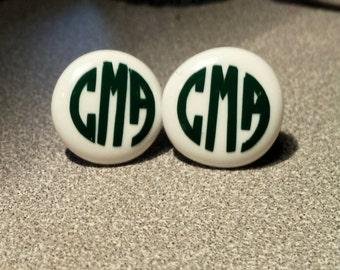 Monogrammed Button Pierced Earrings