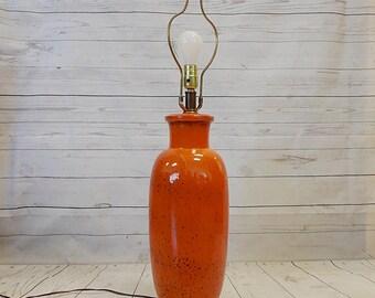 Vintage Mid Century Ceramic & Wood Orange Drip Glaze Table Lamp Light
