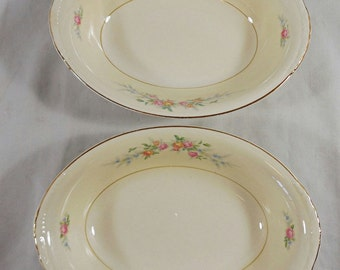 "Pair of Vtg Homer Laughlin Eggshell Georgian 9"" Oval Serving Bowls N1577 USA"
