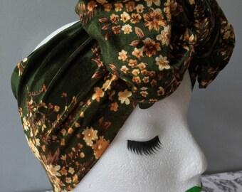 Lucille Bow Turban Headband in Vintage Green