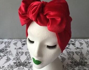 Lucille Velvet Turban Bow Headband in Red Velvet