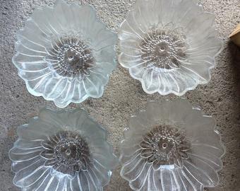 4 Vintage Clear Glass Sunflower Bowls