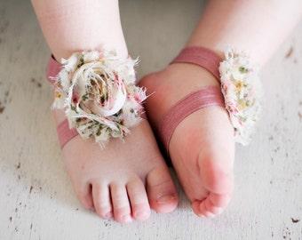 Barefoot sandals; baby barefoot sandals; vintage floral sandal; toddler barefoot sandal; sandal