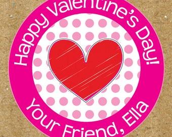 Happy Valentine's Day Stickers, Red Love Heart Gift Stickers, Adhesive Valentine Stickers for Class Candy Gift Bags, Cute Valentine Stickers