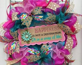 Everyday XL Deco Mesh Happiness Spring Wreath~ Pink Turquoise Happiness is a Way of Life Front Door Deco Mesh Door Wreath