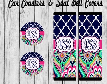 Monogram Car Coaster, Personalized, Seat Belt Cover, Lilly Pulitzer Inspired Shoulder Belt Cover, cup holder coasters, Personalized Gift
