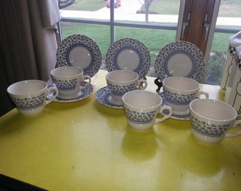 Antique English Ironstone Set of TWELVE Piece EIT Provence Blue/White Floral Dish set