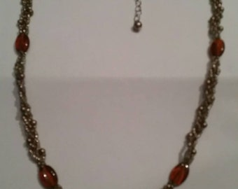 Vintage Glass Bead Necklace Woven  Costume Jewelry