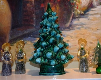 Vintage 1-Piece Ceramic Christmas Tree 12 Inches No Lights Holiday Mantle Decor