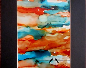 Original Painting  Black Birds Crow Raven Southwest sky orange blue