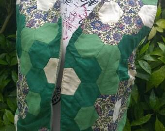 Vintage patchwork hexagons green waistcoat large handmade