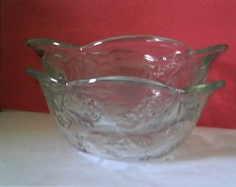 ANCHOR HOCKING Glass - 2 Cereal Bowls - SAVANNAH-Clear Pattern
