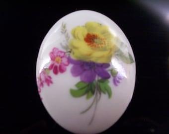 Vintage Limoges Porcelain Floral Brooch.
