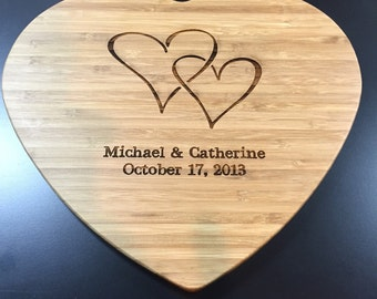 Valentine Heart Cutting Board - Personalized with your names and date