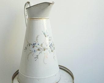 Pitcher - French vase - French vintage pitcher - French large pitcher - French enamel ware vase - vintage vase - French enamelware