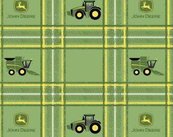 John Deere Tractors on Plaid Green cotton fabric