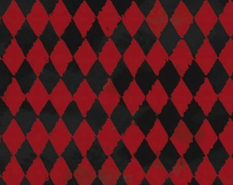 Red and Black Geo, Harley Quinn design cotton fabric