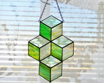 Stacked Boxes Stained Glass Suncatcher in Green