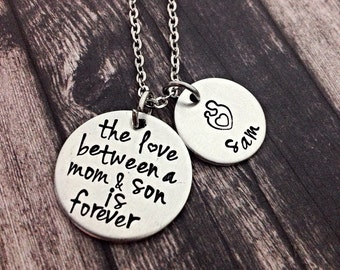 mom necklace, mother's day gift,  love between a mother and son, is forever, hand stamped necklace, gift for mom, necklace, personalized