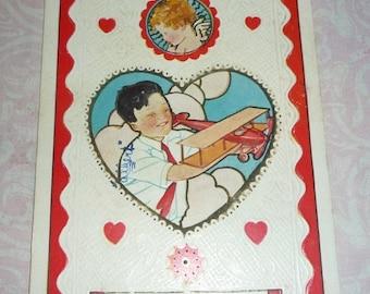 on sale Boy With Airplane and Cupid Vintage Valentine Postcard
