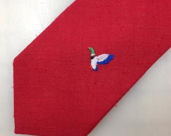 Vintage Burgundy Retro 80's Duck Embroiderd, Necktie