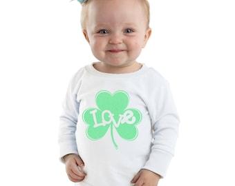 Love Inside Green Glitter Shamrock personalized shirt