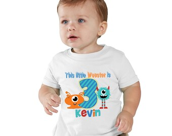 This Little Monster is 3 birthday Boy shirt Personalized