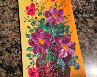 Rectangular Floral Oil Painted Picture on Canvas