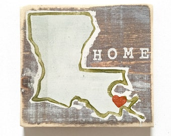 Louisiana Heart (Home): Wood Sign, New Orleans Art, New Orleans Gift, NOLA Art, Home Art, Southern Art