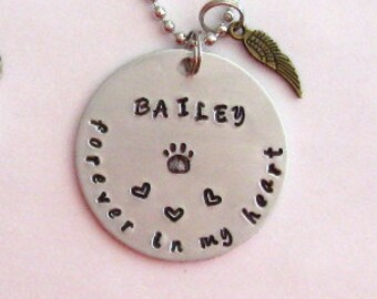 Dog memorial jewelry, pet memorial gifts, hand stamped, necklace key chain, dog cat loss, rainbow bridge gift, maggiemaybecrafty, made in US