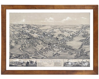 Guilford, CT 1881 Bird's Eye View; 24x36 Print from a Vintage Lithograph